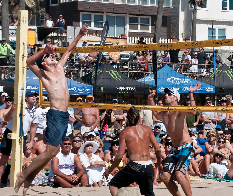 Manhattan Beach Volleyball Open 50th Anniversary. We do not see the ball, but we know it's up there.