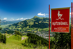 THEMENBILD - Der Blick von der Alten Schneise auf die Stadt Kitzbühel und das Kitzbüheler Horn, aufgenommen am 26. Juni 2017, Kitzbühel, Österreich // The view from the Alten Schneise to the town of Kitzbühel and the Kitzbüheler Horn at the Streif, Kitzbühel, Austria on 2017/06/26. EXPA Pictures © 2017, PhotoCredit: EXPA/ Stefan Adelsberger