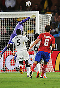 Richard Kingson (Ghana) saves from Branislav Ivanovic (Serbia) during the 2010 FIFA World Cup South Africa Group D match between Serbia and Ghana at Loftus Versfeld Stadium on June 13, 2010 in Pretoria, South Africa.