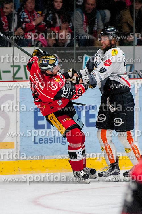 22.10.2016, Ice Rink, Znojmo, CZE, EBEL, HC Orli Znojmo vs Dornbirner Eishockey Club, 13. Runde, im Bild v.l. Jiri Beroun (HC Orli Znojmo) Kevin Schmidt (Dornbirner) // during the Erste Bank Icehockey League 13th round match between HC Orli Znojmo and Dornbirner Eishockey Club at the Ice Rink in Znojmo, Czech Republic on 2016/10/22. EXPA Pictures © 2016, PhotoCredit: EXPA/ Rostislav Pfeffer