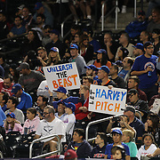New York Mets fans with banners while pitcher Matt Harvey, New York Mets, was pitching during the New York Mets Vs New York Yankees MLB regular season baseball game at Citi Field, Queens, New York. USA. 20th September 2015. Photo Tim Clayton