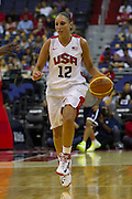 Team USA guard Diana Taurasi brings the ball up the court during the 2012 USA Women's Basketball Team versus Brazil at Verizon Center in Washington, DC.  July 16, 2012  (Photo by Mark W. Sutton)
