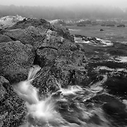 Breaking Wave On A Foggy Shoreline - Weston Beach - Point Lobos, CA - Black & White