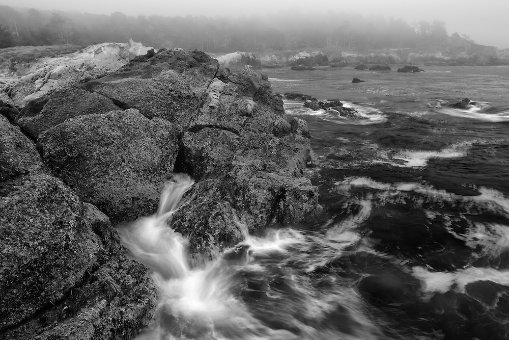 Breaking Wave On A Foggy Shoreline - Weston Beach - Point Lobos, CA - Black & White