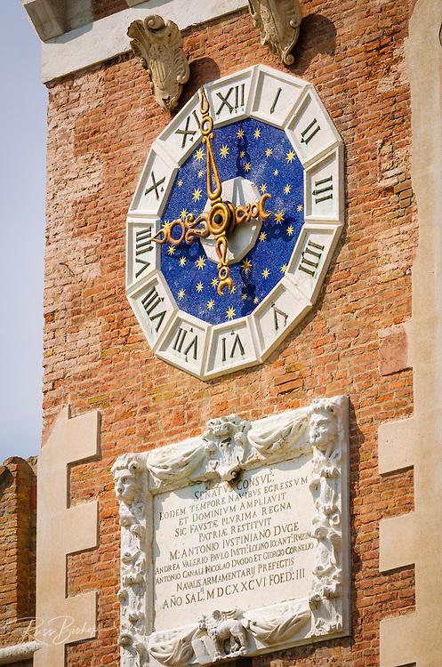 Clocktower detail at the Arsenal, Venice, Veneto, Italy