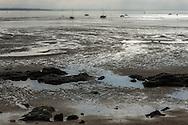Saint Nazaire, 25/10/2014: la spiaggia durante la bassa marea - the beach at low tide