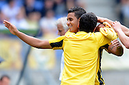 Onderwerp/Subject: Vitesse - Eredivisie<br /> Reklame:  <br /> Club/Team/Country: <br /> Seizoen/Season: 2012<br /> FOTO/PHOTO: JONATHAN ( Jonathan REIS ) (BEHIND) of Vitesse celebrating his second goal with Giorgi CHANTURIA (FRONT) of Vitesse ( 0 - 2 ). (Photo by PICS UNITED)<br /> <br /> Trefwoorden/Keywords: <br /> #02 $94 ±1341400688360<br /> Photo- & Copyrights © PICS UNITED <br /> P.O. Box 7164 - 5605 BE  EINDHOVEN (THE NETHERLANDS) <br /> Phone +31 (0)40 296 28 00 <br /> Fax +31 (0) 40 248 47 43 <br /> http://www.pics-united.com <br /> e-mail : sales@pics-united.com (If you would like to raise any issues regarding any aspects of products / service of PICS UNITED) or <br /> e-mail : sales@pics-united.com   <br /> <br /> ATTENTIE: <br /> Publicatie ook bij aanbieding door derden is slechts toegestaan na verkregen toestemming van Pics United. <br /> VOLLEDIGE NAAMSVERMELDING IS VERPLICHT! (© PICS UNITED/Naam Fotograaf, zie veld 4 van de bestandsinfo 'credits') <br /> ATTENTION:  <br /> © Pics United. Reproduction/publication of this photo by any parties is only permitted after authorisation is sought and obtained from  PICS UNITED- THE NETHERLANDS