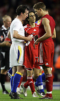 Photo: Paul Thomas.<br /> Liverpool v Cardiff City. Carling Cup. 31/10/2007.<br /> <br /> Robbie Fowler (L) of Cardiff swaps his shirt with Steven Gerrard.