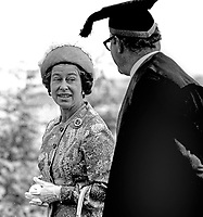 Silver Jubilee visit of Queen Elizabeth II to N Ireland on 10th & 11th August 1977 - During her visit to the Campus of the New University of Ulster, Coleraine, she is seen talking to the former & first vice-chancellor of the NUU, Alan Burges.   197708100074m<br />
