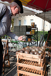 Shopper examines some antique bouls.  Vintage clothing, sporting goods, toys, and antiques share sidewalk space with amazing food and working artists during the Sunday flea markets for which the town of L'Isle-sur-la-Sorgue is famous.