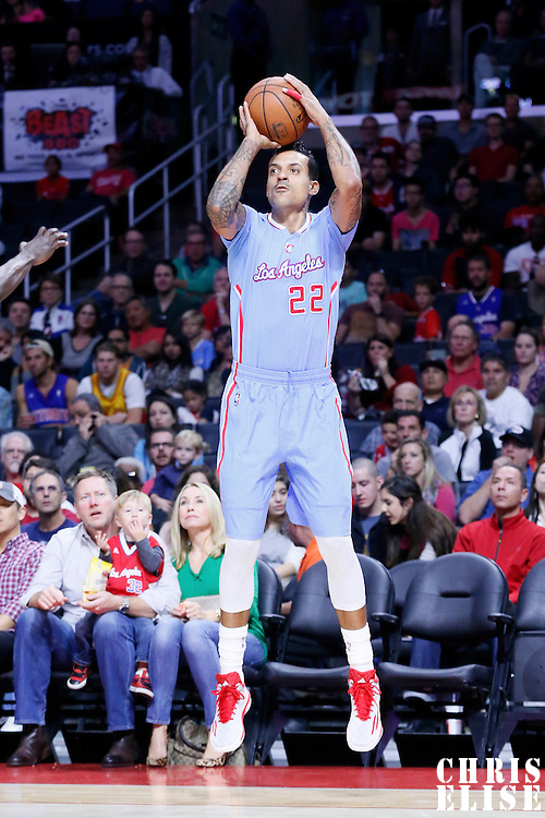 02 November 2014: Los Angeles Clippers forward Matt Barnes (22) takes a jump shot  during the Sacramento Kings 98-92 victory over the Los Angeles Clippers, at the Staples Center, Los Angeles, California, USA.