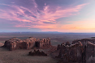 Pre dawn view of Monument Valley from Hunts Mesa, Monument Valley Tribal Park, Arizona