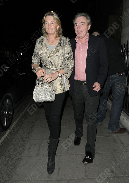 01.APRIL.2011. LONDON<br /> <br /> ANDREW LLOYD WEBBER AND WIFE MADELEINE LEAVING THE C RESTAURANT IN MAYFAIR.<br /> <br /> BYLINE: EDBIMAGEARCHIVE.COM<br /> <br /> *THIS IMAGE IS STRICTLY FOR UK NEWSPAPERS AND MAGAZINES ONLY*<br /> *FOR WORLD WIDE SALES AND WEB USE PLEASE CONTACT EDBIMAGEARCHIVE - 0208 954 5968*