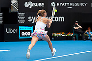 SYDNEY, NSW - JANUARY 07: Camila Giorgi (ITA) hits a backhand at The Sydney International Tennis on January 07, 2018, at Sydney Olympic Park Tennis Centre in Homebush, Australia. (Photo by Speed Media/Icon Sportswire)