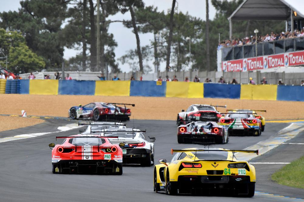 #64 Corvette Racing Chevrolet Corvette C7.R: Oliver Gavin, Tommy Milner, Marcel Fassler<br /> Saturday 16 June 2018<br /> 24 Hours of Le Mans<br /> 2018 24 Hours of Le Mans<br /> Circuit de la Sarthe  FR<br /> World Copyright: Scott R LePage