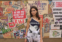© Licensed to London News Pictures. 23/06/2017. Glastonbury , UK. British artist Dua Lipa backstage at Glastonbury following her performance on John Peel Stage  .Photo credit: Jason Bryant/LNP