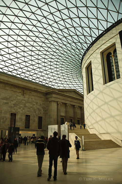 Sunlight streams in the interior of the British Museum, London, England.