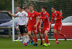 NEWPORT, WALES - Monday, October 14, 2019: Wales' Cameron Evans (#15) celebrates scoring the first goal during an Under-19's International Friendly match between Wales and Austria at Dragon Park. Wales won 2-0. (Pic by David Rawcliffe/Propaganda)