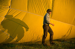 GERMANY SCHLESWIG-HOLSTEIN KIEL 9JUN02 - Pilot Andreas Kuehl next to the inflating hull of his balloon...jre/Photo by Jiri Rezac..© Jiri Rezac 2002..Contact: +44 (0) 7050 110 417..Mobile:  +44 (0) 7801 337 683.Office:  +44 (0) 20 8968 9635..Email:   jiri@jirirezac.com.Web:     www.jirirezac.com