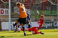 Nathan Clarke of Leyton Orient blocks a shot from Jonathan Stead of Bradford City currently on loan from Huddersfield during the Sky Bet League 1 match at the Matchroom Stadium, London<br /> Picture by David Horn/Focus Images Ltd +44 7545 970036<br /> 29/03/2014