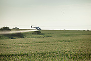 09 July 2012- Ariel spraying via helicoptor is photographed on Crop Production Services land outside Ashland, Nebraska for SRA FMC.