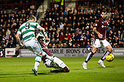 Celtic FC Forward Leigh Griffiths scores the first goal during the Scottish League Cup presented by Ulilita Energy quarter final match between Heart of Midlothian and Celtic at Tynecastle Stadium, Gorgie, Scotland on 28 October 2015. Photo by Craig McAllister.