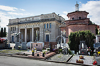 VERBANIA, ITALY - 18 APRIL 2017: The Morano family tomb (center), where Emma Morano was buried, is seen here in Verbania, Italy, on April 18th 2017.<br /> <br /> Emma Morano, born in 1899, was an Italian supercentenarian who, prior to her death at the age of 117 years and 137 days, was the world's oldest living person whose age had been verified, and the last living person to have been verified as being born in the 1800s. She died on April 15th 2017.