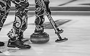 "Glasgow. SCOTLAND. Norway, Sweep away durin the  ""Round Robin"" Game.  The Le Gruyère European Curling Championships. 2016 Venue, Braehead  Scotland<br /> Tuesday  22/11/2016<br /> <br /> [Mandatory Credit; Peter Spurrier/Intersport-images]"