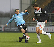 Dundee's Jim McAlister and Falkirk's Rory Loy - Falkirk v Dundee, SPFL Championship at <br /> Falkirk Stadium<br />  - &copy; David Young - www.davidyoungphoto.co.uk - email: davidyoungphoto@gmail.com
