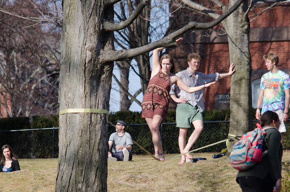 2016-03-09-Tufts students take to the President's Lawn on an unseasonably warm day in March (Alex Knapp / The Tufts Daily).