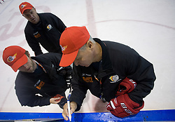 Dejan Varl, Darko Prusnik and coach Ildar Rahmatullin at practice after HK Acroni Jesenice Team roaster for 2009-2010 season,  on September 03, 2009, in Arena Podmezaklja, Jesenice, Slovenia.  (Photo by Vid Ponikvar / Sportida)