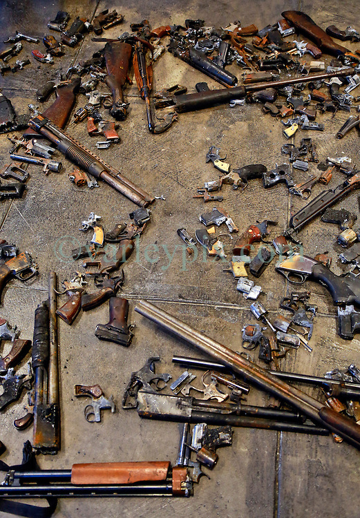 16 April 2014. Jonathan Ferrara Gallery, New Orleans, Louisiana. <br /> The Jonathan Ferrara Gallery announces the 'Guns In The Hands Of Artists' project where artists take parts from 190 destroyed weapons acquired by the New Orleans Police department through a buy-back program and convert them into art.  <br /> Photo; Charlie Varley/varleypix.com