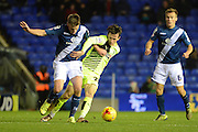 Huddersfield Town defender Ben Chilwell and Birmingham City midfielder Stephen Gleeson tussle for the ball during the Sky Bet Championship match between Birmingham City and Huddersfield Town at St Andrews, Birmingham, England on 5 December 2015. Photo by Alan Franklin.