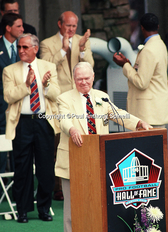 New York Giants owner Wellington Mara speaks at the podium during his Pro Football Hall of Fame Induction speech before the Minnesota Vikings NFL football game against the Seattle Seahawks on July 26, 1997 in Canton, Ohio. The Vikings won the game 28-26. (©Paul Anthony Spinelli)