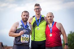 Tadej Hribar, Kristjan Ceh and Andrej Kostrakov at medal ceremony during day 2 of Slovenian Athletics Cup 2019, on June 16, 2019 in Celje, Slovenia. Photo by Peter Kastelic / Sportida