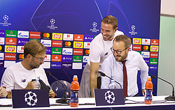 NAPLES, ITALY - Monday, September 16, 2019: Liverpool's manager Jürgen Klopp, captain Jordan Henderson and press officer Matt McCann during a press conference at the Stadio San Paolo ahead of the UEFA Champions League Group E match between SSC Napoli and Liverpool FC. (Pic by David Rawcliffe/Propaganda)