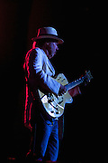 Neil Young playing his Gretsch White Falcon electric guitar on stage at Massey Hall in Toronto, Canada May 11th 2011.