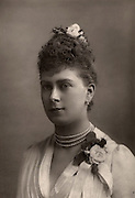 Princess Mary (May) of Teck (1867-1953) at the time of her betrothal to Prince George of  Wales who, as George V, succeeded his father Edward VII as king of the United Kingdom in 1910, when she became known as Queen Mary. From 'The Cabinet Portrait Gallery' (London, 1890-1894).  Woodburytype after photograph by W & D Downey.