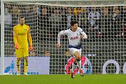 Tottenham Hotspur forward Son Heung-Min (7) runs in front of the Inter Milan goal, Inter Milan goalkeeper Samir Handanovic (1) during the Champions League group stage match between Tottenham Hotspur and Inter Milan at Wembley Stadium, London, England on 28 November 2018.