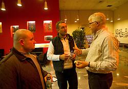 Tomaz Tomsic in Ales Praznik na okrogli mizi o krizi slovenskega rokometa danes, 26. oktober 2010, kongresna dvorana Mercurius, BTC City, Ljubljana, Slovenija. (Photo by Vid Ponikvar / Sportida)