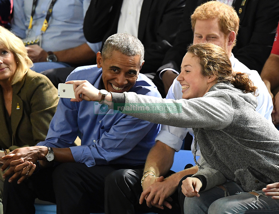 Prince Harry and Barack Obama attend the Invictus Games Wheelchair Basketball at the Pan Am Sports Centre, Toronto, Ontario, Canada, on the 29th September 2017. 29 Sep 2017 Pictured: Prince Harry and Barack Obama attend the Invictus Games Wheelchair Basketball at the Pan Am Sports Centre, Toronto, Ontario, Canada, on the 29th September 2017. . Photo credit: James Whatling / MEGA TheMegaAgency.com +1 888 505 6342