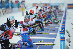 February 8, 2019 - Calgary, Alberta, Canada - Garanichev Eugeniy is at the shooting range during Men's Relay of 7 BMW IBU World Cup Biathlon 2018-2019. Canmore, Canada, 08.02.2019 (Credit Image: © Russian Look via ZUMA Wire)