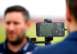 Bristol City head coach Lee Johnson is interviewed pre match - Mandatory by-line: Matt McNulty/JMP - 22/07/2017 - FOOTBALL - Tenerife Top Training - Costa Adeje, Tenerife - Bristol City v Atletico Union Guimar  - Pre-Season Friendly