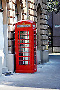 Eastern Europe, Hungary, Szeged, red phonebox