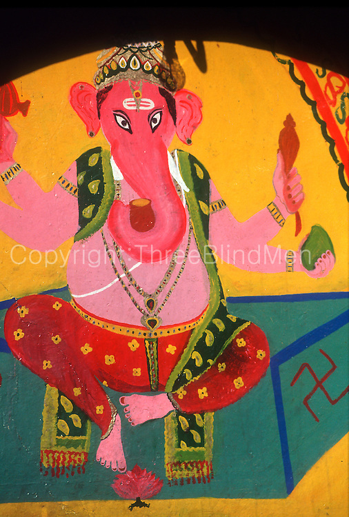 Sri Lanka..Ganesh on side of a Kovil near Helbodde.