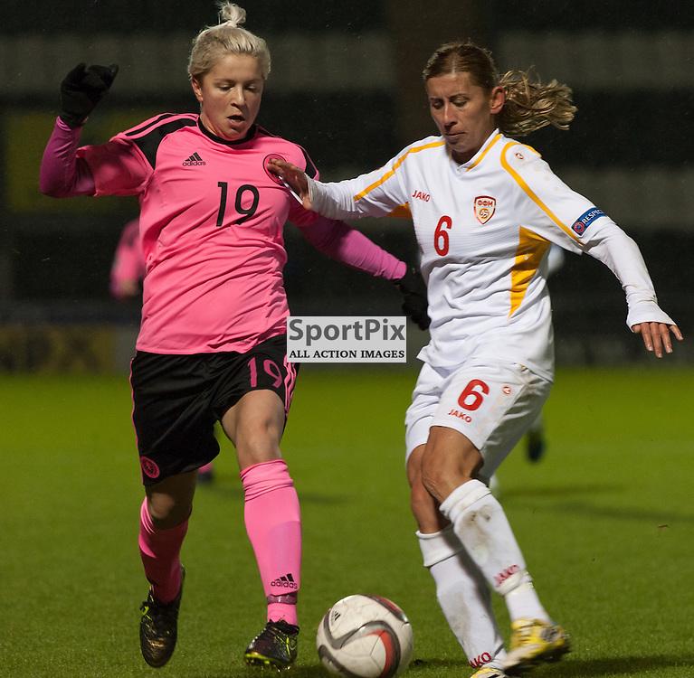 Lana Clelland (Scotland &amp; UPC Tavagnacco) and Milka Arsova (FYR Macedonia)<br /> <br /> UEFA Women's European Championship Qualifying - Group 1 <br /> Scotland v FYR Macedonia<br /> St Mirren Park, Paisley<br /> Sunday 29 November 2015<br /> <br /> &copy; Russel Hutcheson   SportPix 2015