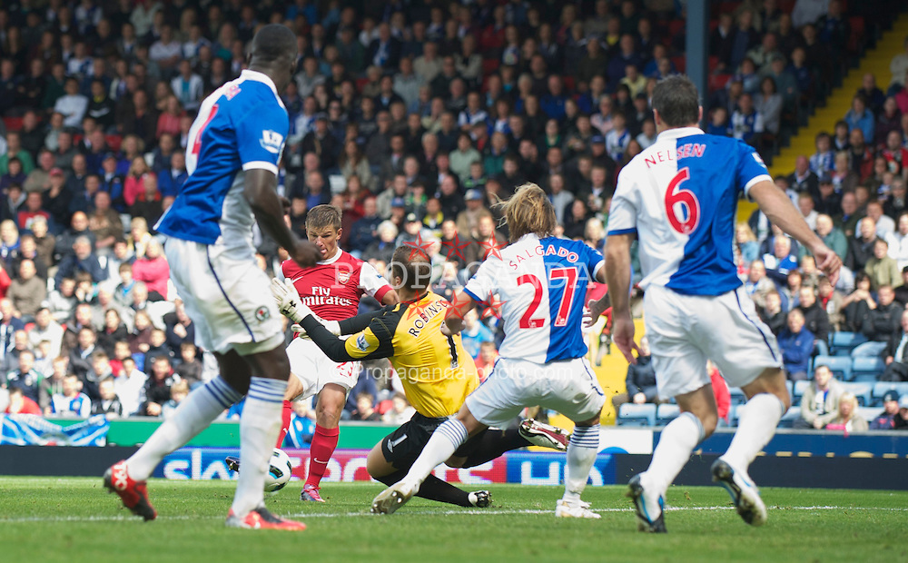 BLACKBURN, ENGLAND - Saturday, August 28, 2010: Arsenal's Andrei Arshavin scores the second goal against Blackburn Rovers during the Premiership match at Ewood Park. (Pic by: David Rawcliffe/Propaganda)