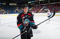 KELOWNA, CANADA - SEPTEMBER 5: Jack Cowell #8 of the Kelowna Rockets skates to the bench against the Kamloops Blazers on September 5, 2017 at Prospera Place in Kelowna, British Columbia, Canada.  (Photo by Marissa Baecker/Shoot the Breeze)  *** Local Caption ***