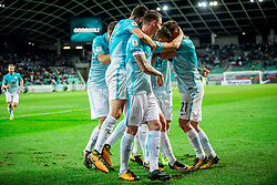 Players of Slovenia celebrate after scoring first goal during football match between National Teams of Slovenia and Scotland of Fifa 2018 World Cup European qualifiers, on October 8, 2017 in SRC Stozice, Ljubljana, Slovenia. Photo by Vid Ponikvar / Sportida