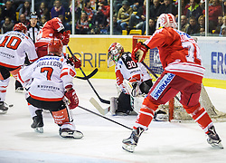 02.10.2015, Stadthalle, Klagenfurt, AUT, EBEL, EC KAC vs HC TWK Innsbruck Die Haie, im Bild Patrick Mössmer (HC TWK Innsbruck Die Haie #10), Dustin Vanballegooie (HC TWK Innsbruck Die Haie #7), Stefan Geier (EC KAC, #19), Andy Chiodo (HC TWK Innsbruck Die Haie #30), Jamie Lundmark (EC KAC, #74)// during the Erste Bank Eishockey League match betweeen EC KAC and HC TWK Innsbruck Die Haie at the City Hall in Klagenfurt, Austria on 2015/190/02. EXPA Pictures © 2015, PhotoCredit: EXPA/ Gert Steinthaler